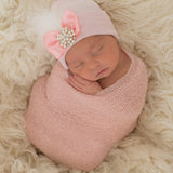 PINK or WHITE Fancy Feather with Pearl and Rhinestone Jewel Newborn Girl Hospital Hat - Pink Hospital Hat