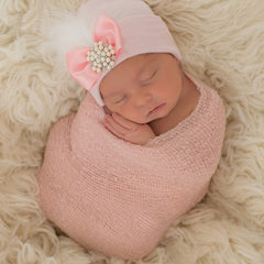 PINK or WHITE Fancy Feather with Pearl and Rhinestone Jewel Newborn Girl Hospital Hat - Pink Hospital Hat icon