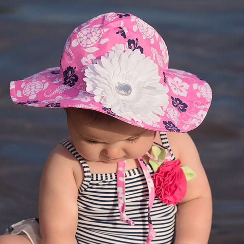 Pink Hawaiian Floral Printed Girls Sun Hat - Removable White Daisy Flower