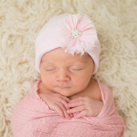 Pink Hat with Pink Frayed Flower Newborn Girl Hospital Hat - Pink Hat