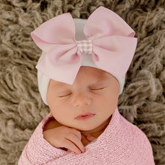 Pink Gingham Bow Newborn Girl Hat -Pink Bow with Pink Gingham Ribbon on White Hat icon