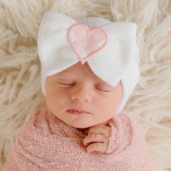 Haley Heart Newborn Girl Big Bow and Gingham Heart Patch Hospital Hat icon