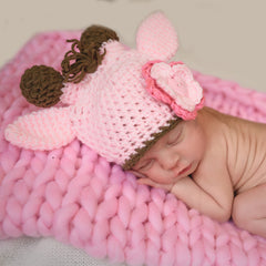 Pink and Brown Giraffe Baby Girl Hat - Newborn Photography Prop icon