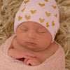 Shimmery Gold Heart WHITE OR PINK Printed Newborn Hospital Hat- Newborn Girl Hat