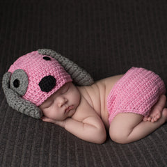 Pink and Gray Puppy Dog Hat and Diaper Cover Set - Newborn Girls icon