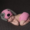 Pink and Gray Puppy Dog Hat and Diaper Cover Set - Newborn Girls