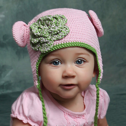 Organic Pink & Green Crochet Baby Bear with Flowers Animal Hat
