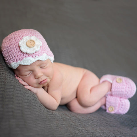 Classical Pink Beanie with Flower and Matching Pink Booties for Newborn Girls