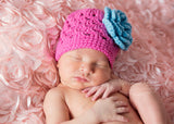 May Flowers Pink Knit Hat with Blue Flower