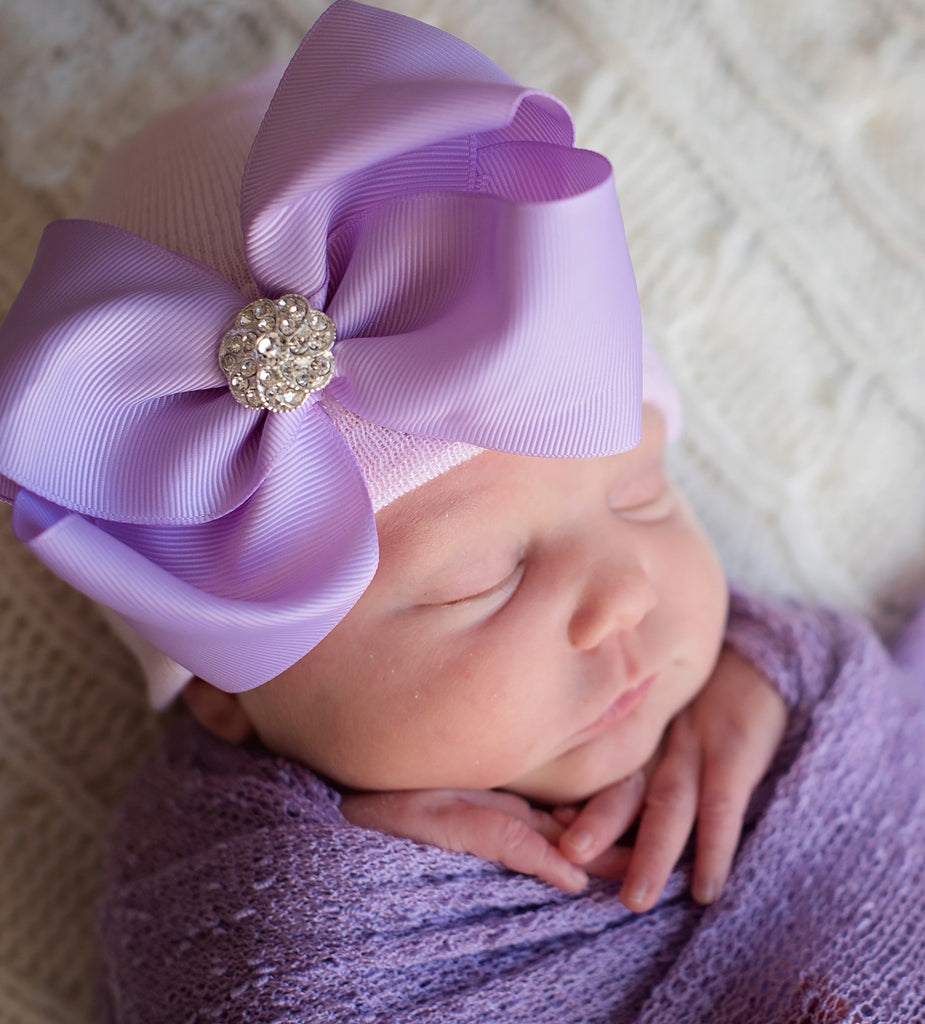 White or Pink Hospital Hat with Big Purple Ribbon Bow with Rhinestone Center