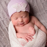 White Lace Butterfly Pink Newborn Girl Hospital Hat