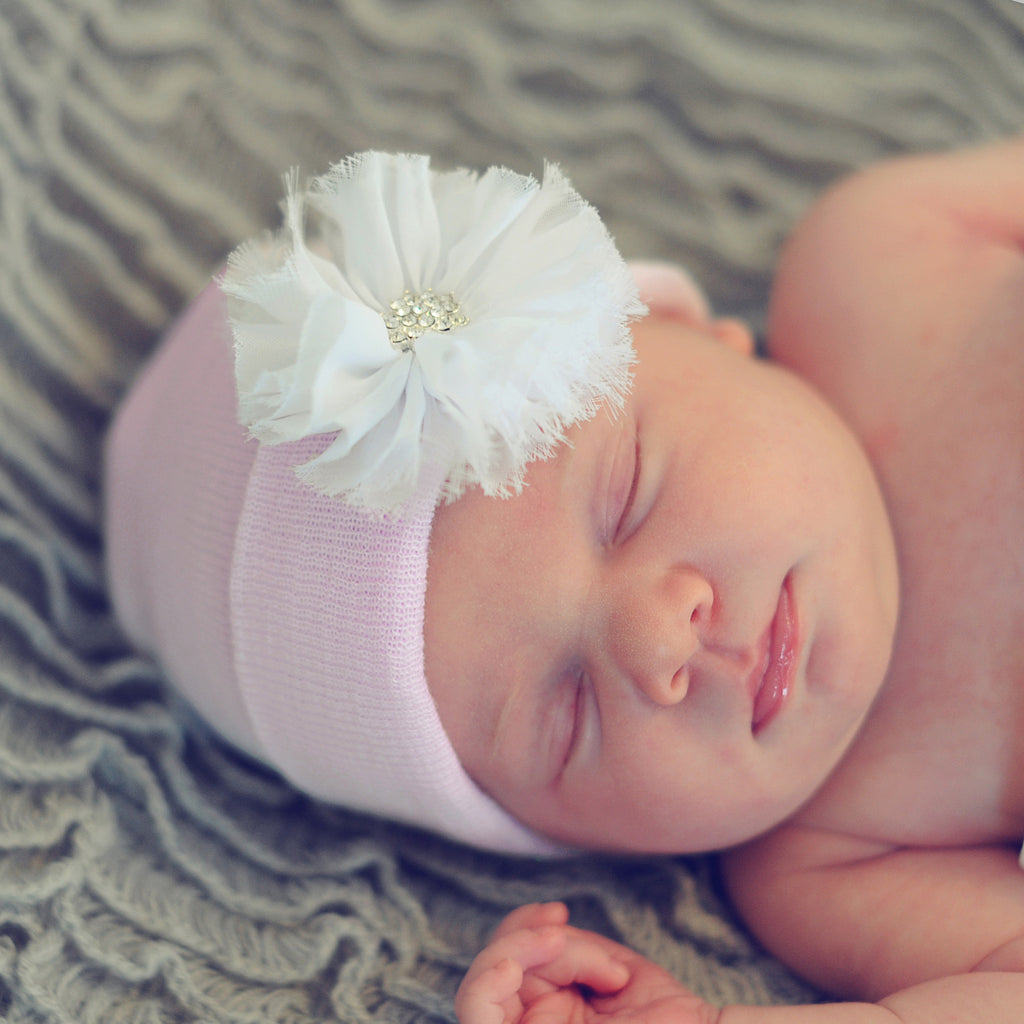 Pink Hat with White Frayed Flower Newborn Girl Hospital Hat - Pink Hat