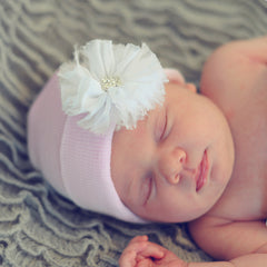 Pink Hat with White Frayed Flower Newborn Girl Hospital Hat - Pink Hat icon