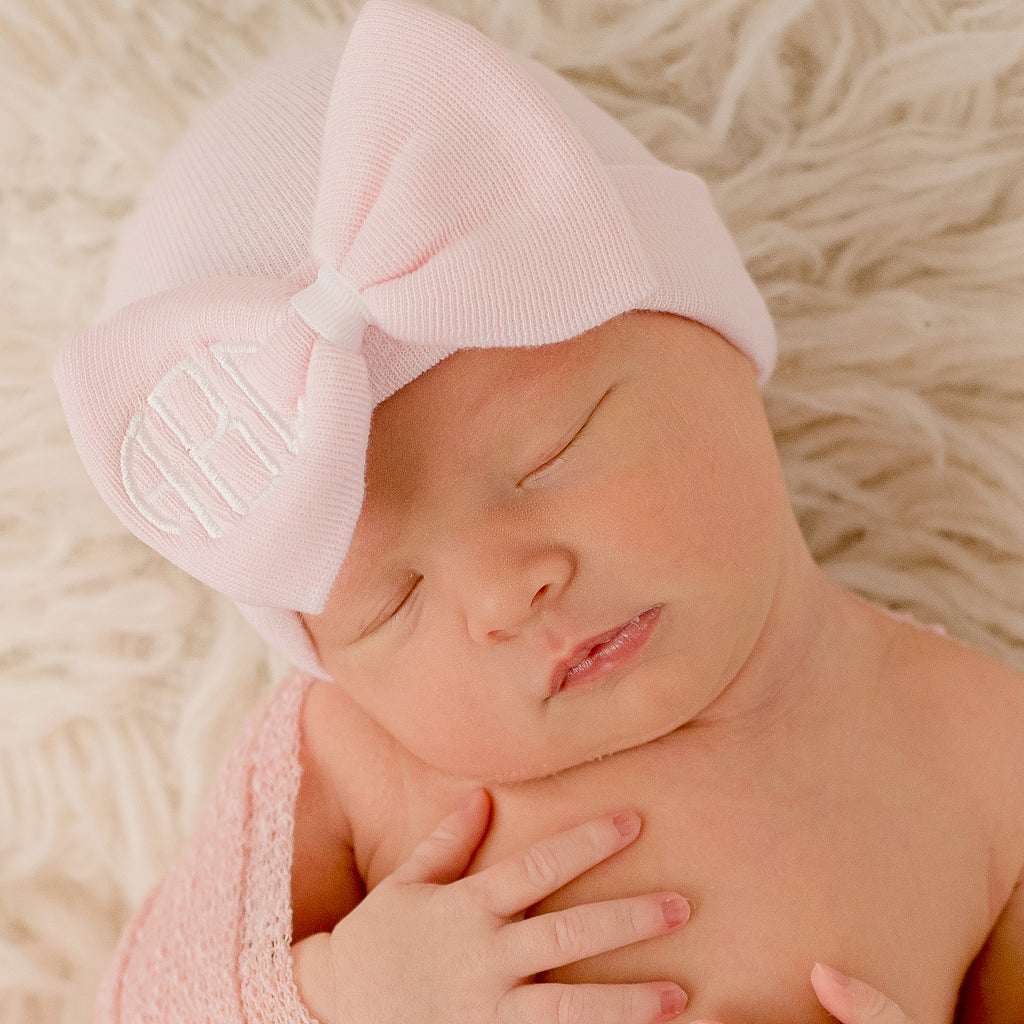 Soft Pink Newborn Girl Hospital Hat Bow with Monogrammed Initials Nursery Newborn GIRL hospital hat