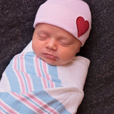 Pink Hat with Red Satin Heart Patch Newborn Girl Hospital Hat
