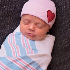 Pink Hat with Red Satin Heart Patch Newborn Girl Hospital Hat icon