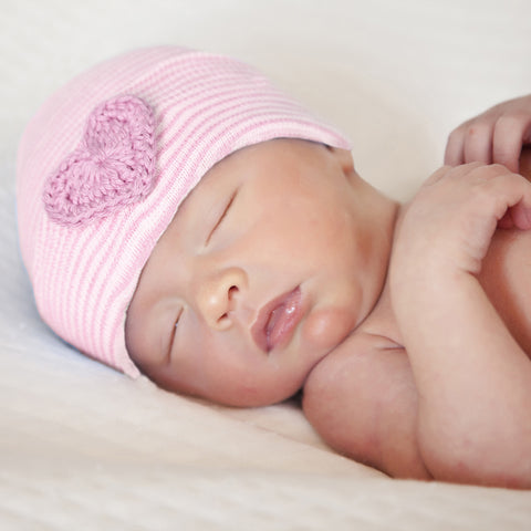 Pink and White Striped Newborn Girl Hospital Hat with Pink Crocheted Heart