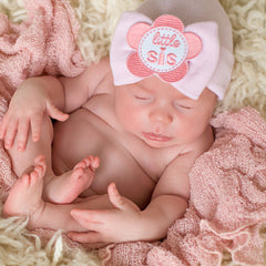 PINK Little Sis Flower Patch Big Bow Newborn Girl Hospital Hat icon