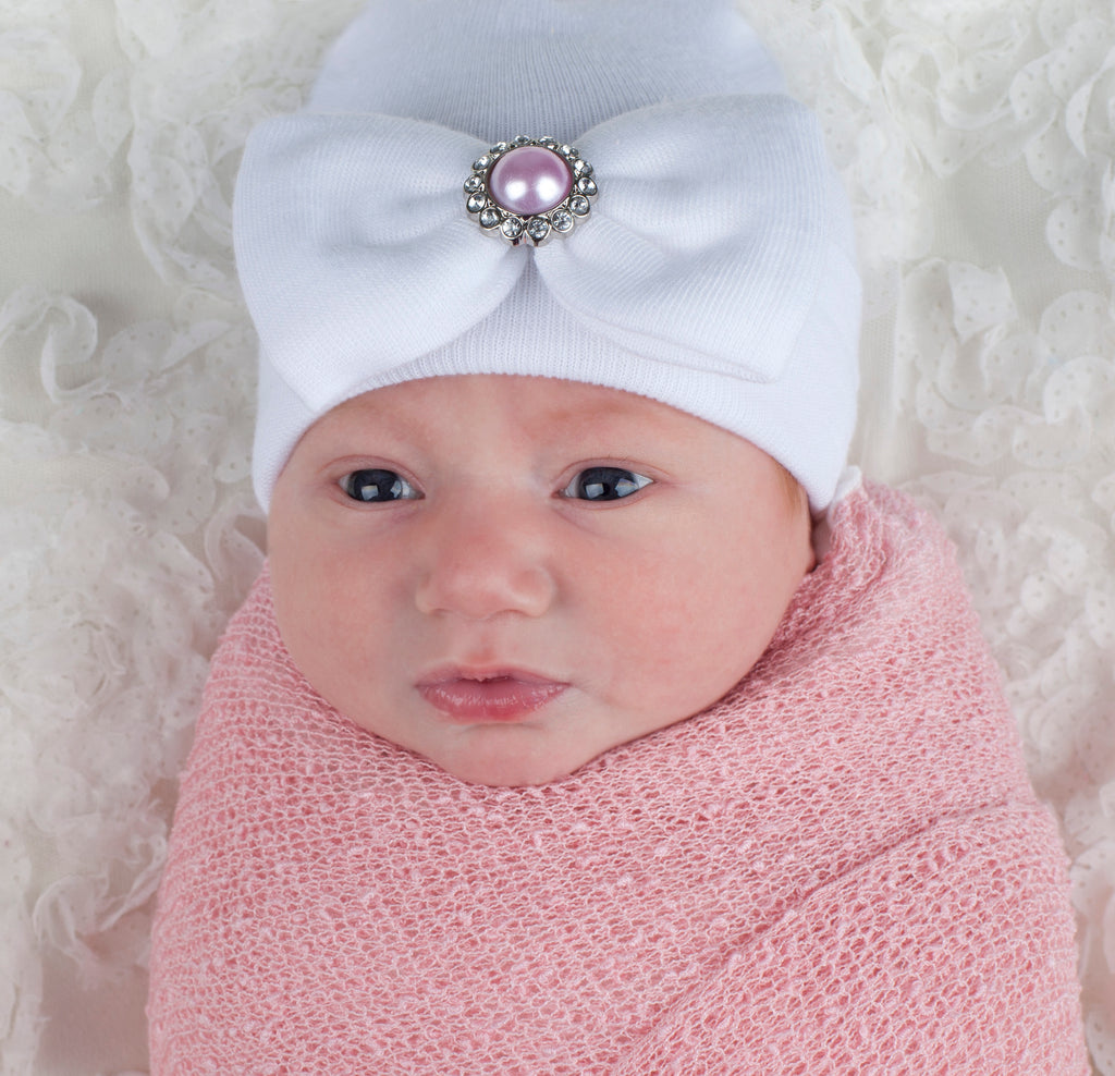 Personalized Baby Girl Hat with White Bow Rhinestone Center Monogrammed Beanie