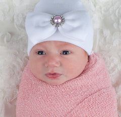 Pink Pearl Bow Newborn Girl Hospital Hat White Hat Nursery Beanie icon