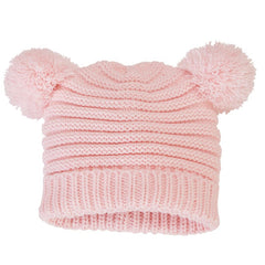 Double Fun Pink Pom Pom Knit Baby Girl Hat Size 6-18 months icon