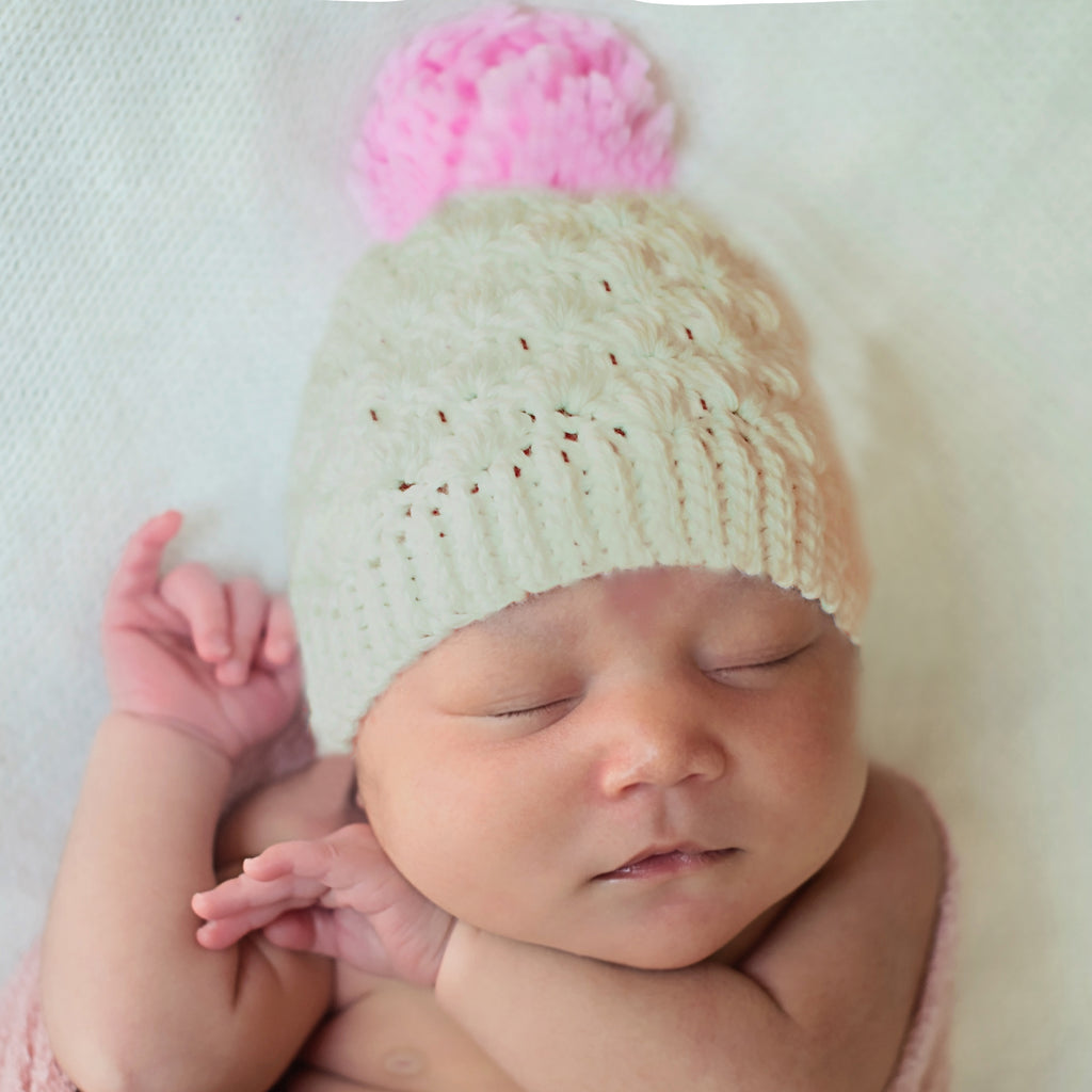 Snowy White OR Oatmeal and Pink White Beanie with Pink Pom Pom for Baby Girls
