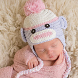 Pink and Purple Sock Monkey Baby Girl Hat