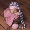 Pink and Purple Striped Stocking Cap for Baby Girls