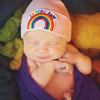 Rainbow Baby Hat - White, Blue and Pink Hat Choice Hospital Hat