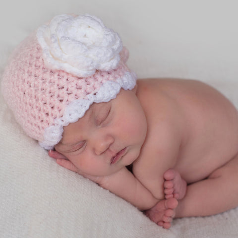 Soft Scalloped Pink Baby Girl Flower Beanie