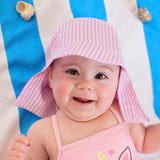 Pink and White Preppy Seersucker Stripe Sun & Swim Sun Hat for Baby Girls - PERSONALIZATION OPTION