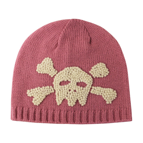 Mauvey Pink Baby Girl Beanie with Skull and Crossbones