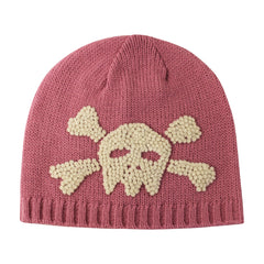 Mauvey Pink Baby Girl Beanie with Skull and Crossbones icon