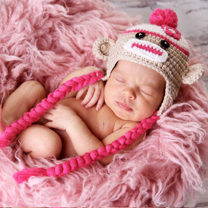 Sweet Pink Sock Monkey with Braids