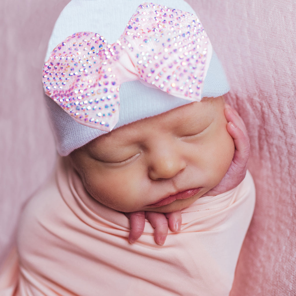Pink Sparkle Bow Newborn Girl Hospital Hat