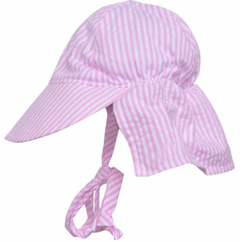 Pink and White Preppy Seersucker Stripe Sun & Swim Sun Hat for Baby Girls
