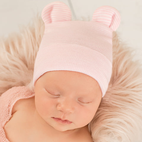 Pink and White Striped Bear Ear Newborn Girl Hospital Hat for Newborn Girls