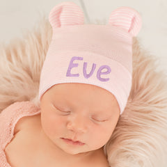 Personalized Pink and White Striped Bear Ear Newborn Girl Hospital Hat for Newborn Girls icon