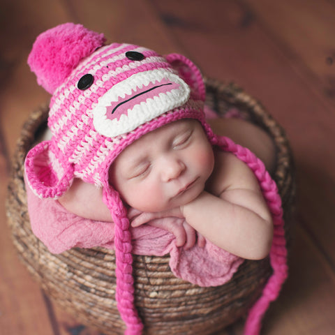 Striped Baby Girl Pink Sock Monkey Hat
