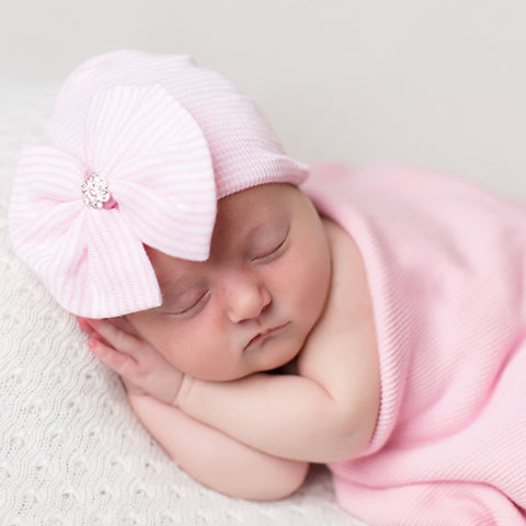 Fan Bow with Flower Gem Pink and White Striped Newborn Girl Nursery Hat