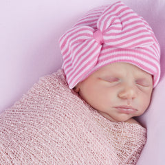 Two Pinks Striped Newborn Girl Hospital Hat with Big Bow and Ribbon icon