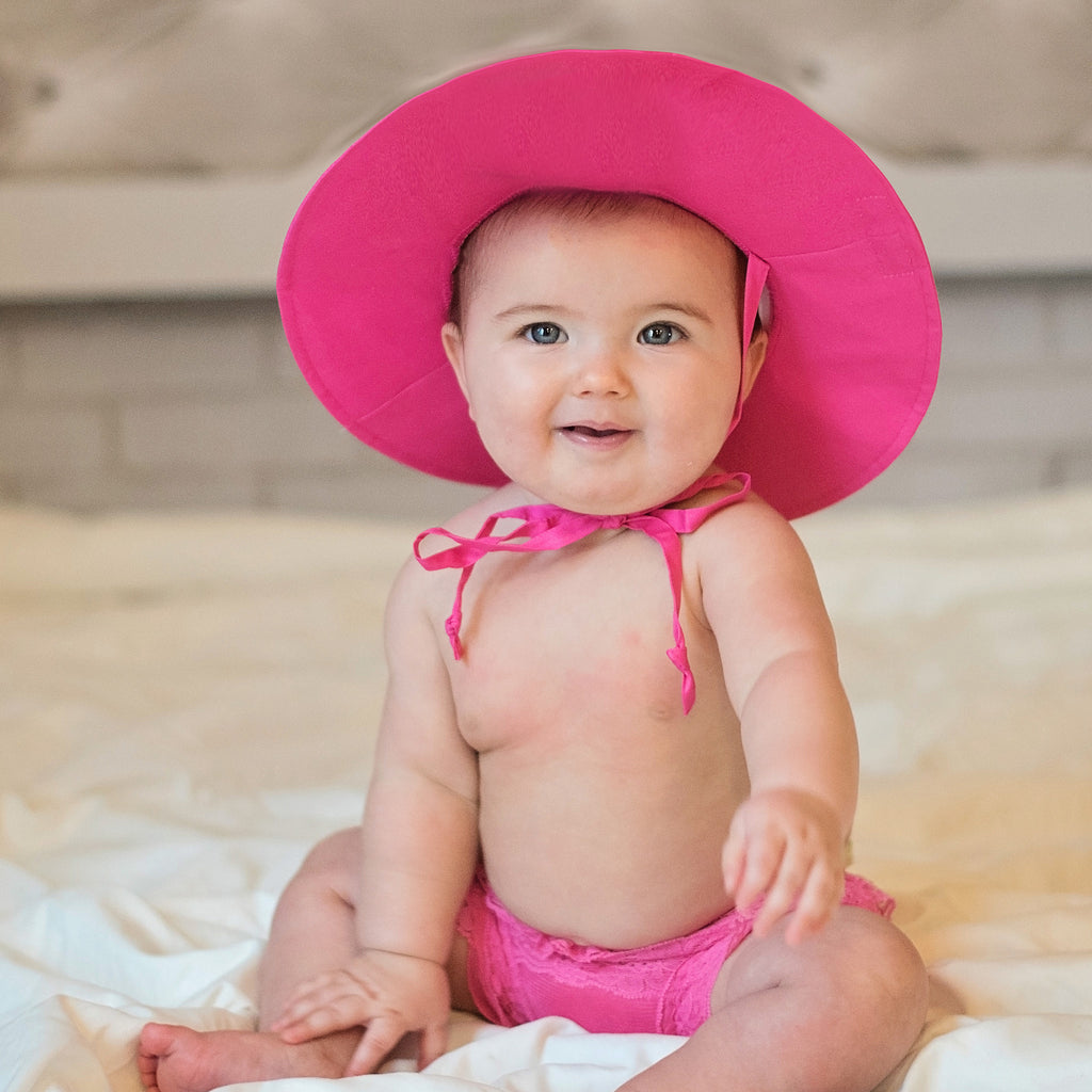 Hot Pink Wide Brim Baby Sun Hat - UPF 50 Sun Protection