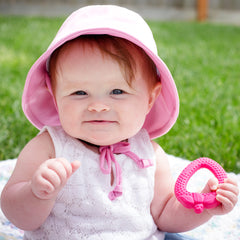 Pink Swim Hat for Baby and Toddler Girls with Sun Protection icon
