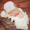 Au Naturale Pink and Beige Baby Girl Beanie with Wooden Button for Baby Girls