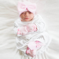 Big Bow Pink and White Striped Receiving Nursery Hat, Mittens and Booties SET for Newborn Girls icon