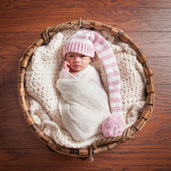Simple Pink Striped Stocking Cap for Baby Girls icon