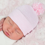 Striped Pink and White Nursery Hospital Hat with Mixed Pink and White Pom Pom