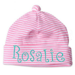 7a970dc82bb Pink and White Stripes with Pom Pom Newborn GIRL Beanie