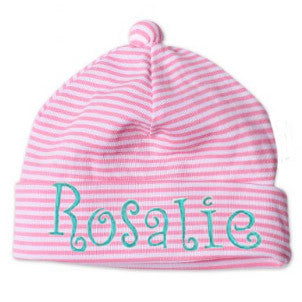 Thin Pink and White Striped Infant and Newborn Beanie