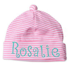 Thin Pink and White Striped Infant and Newborn Beanie icon